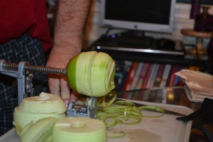 We like to use the apple peeler-corer-slicer tool